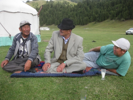 Drinking fermented milk in the mountains